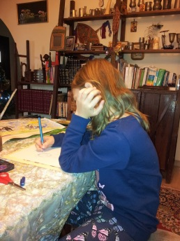 Alissa studying